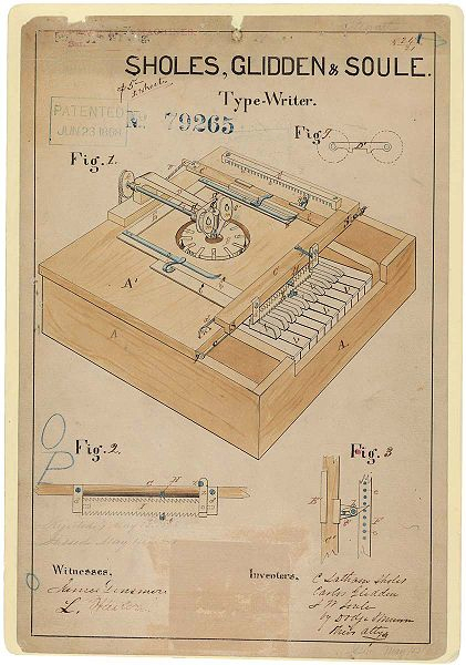 "Sholes and Glidden typewriter documentation.  The machine, patented on June 23, 1868, resembled ""a cross between a piano and a kitchen table."""