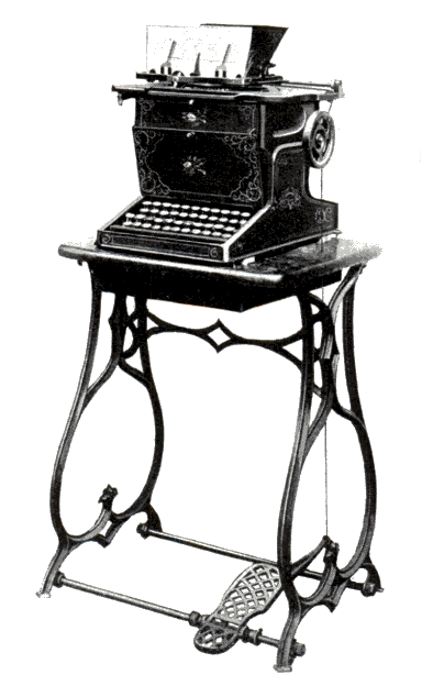 Sholes and Glidden typewriter as produced by E. Remington and Sons.