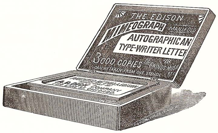 Advertisement from 1889 for the Edison-Dick Mimeograph.