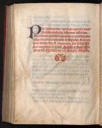 The colophon of the 1457 Mainz Psalter, featuring the first printer's mark. (View Larger)