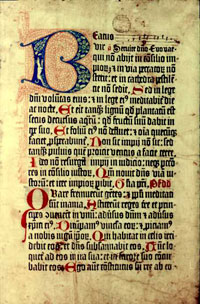 An illuminated page from a copy of the 1459 Mainz Psalter preserved at the Bodelian Library. (View Larger)