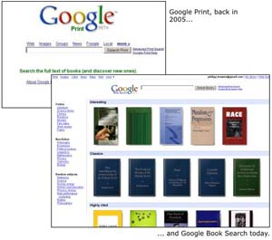 The shift from Google Print to Google Books