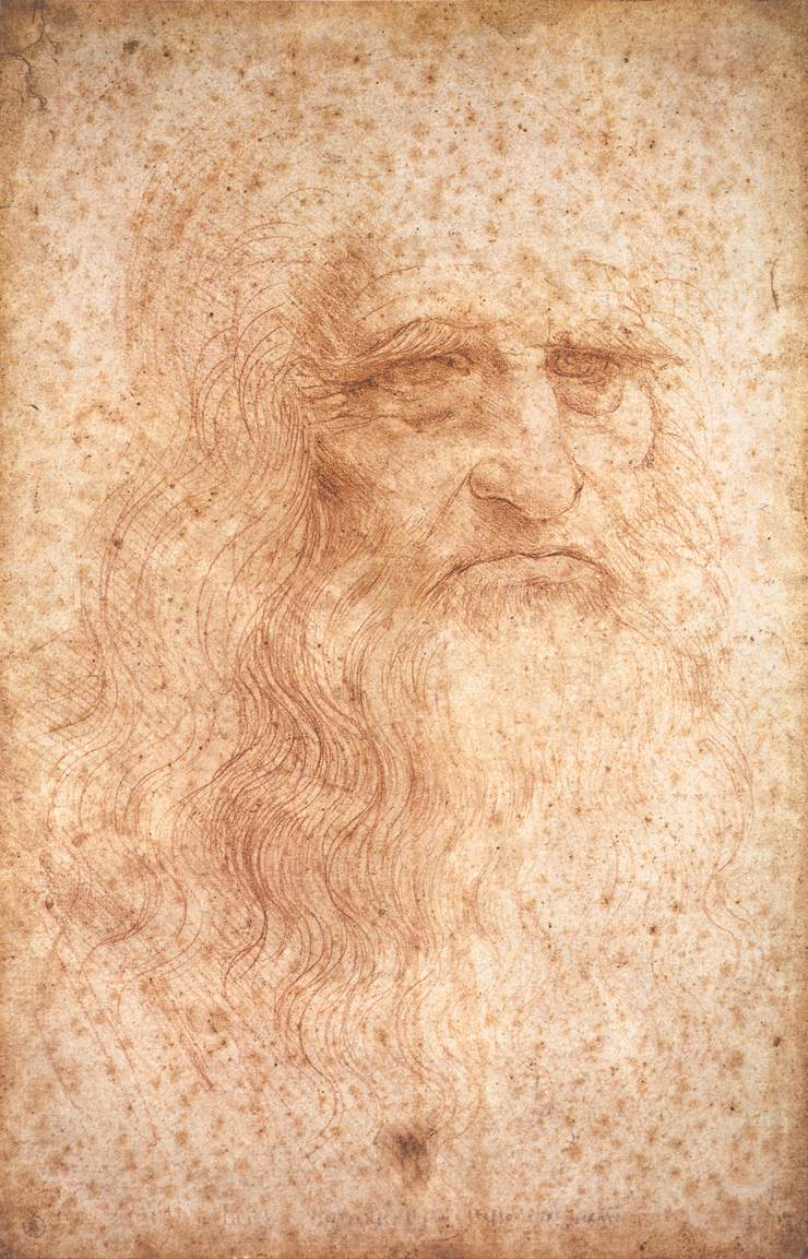 A self-portrait by Leonardo da Vinci in red chalk