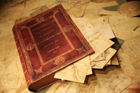 A unique edition of the Codex Atlanticus as it was in the 1600s. The book is a box made by Pompeo Leoni to collect all of the pages made by Mario Taddei in 2007