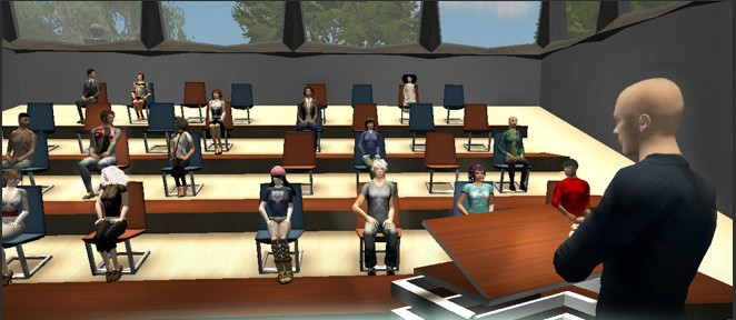 A virtual classroom in Second Life where players can learn new languages, among other studies