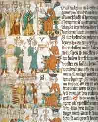 A set of images depicting choosing the king from the Heidelberg Sachsenspiegel, circa 1300.