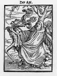 The Abbot, a woodcut from the Dance of Death series by Hans Holbein the Younger.