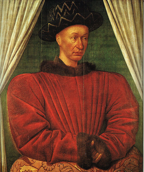 A portrait of Charles VII of France by Jean Fouquet.