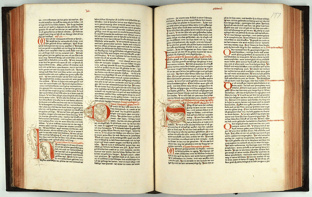 The Latin Bible printed by Johannes Mentelin in Strassbourg before 27 June 1466. ISTC No.: ib00624000.