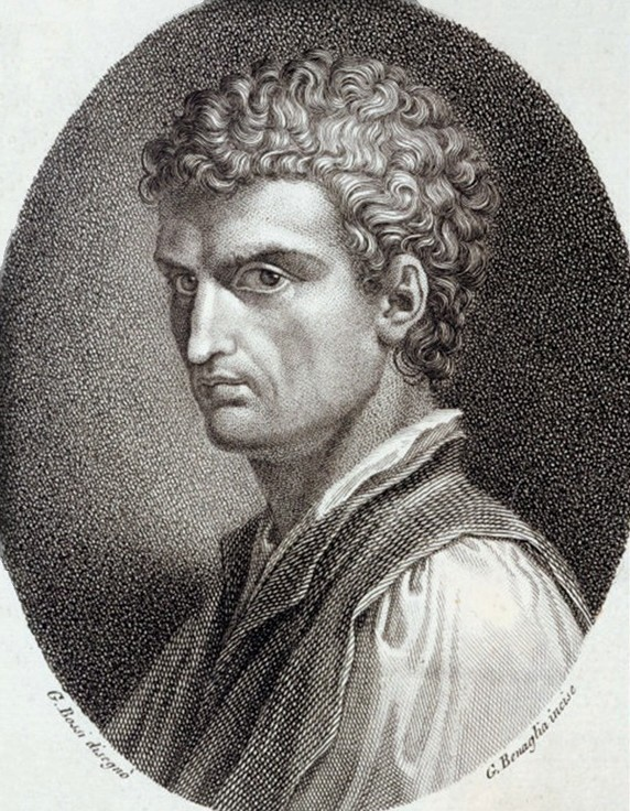 An engraved portrait of Leon Battista Alberti. Engraved by G. Benaglia and published in the 18th century.