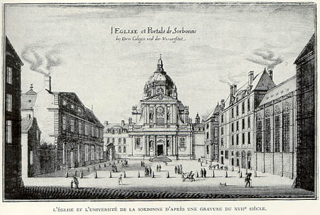 A 17th century engraving of The Sorbonne, Paris.