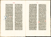 The 36-line Bible, the second printed edition, was most likely published in Bamberg, Germany, around 1458-1460. No printers name appears in the book, but Johannes Gutenberg may have been involved in its publication. (View Larger)