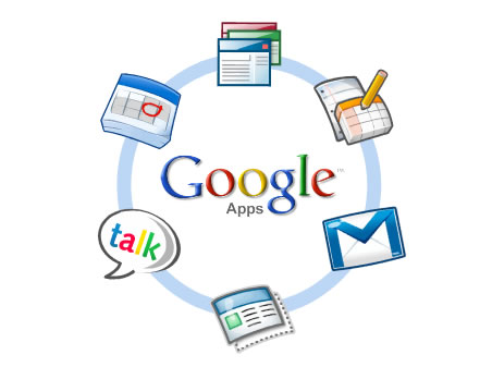 The Google Apps logo, including a diagram of some of the applications offered
