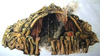 Artist rendition of dwelling in Mezhirich, Ukraine, made of mammoth bones.  Source: Dolní Věstonice Museum. (Click on image to view larger.)