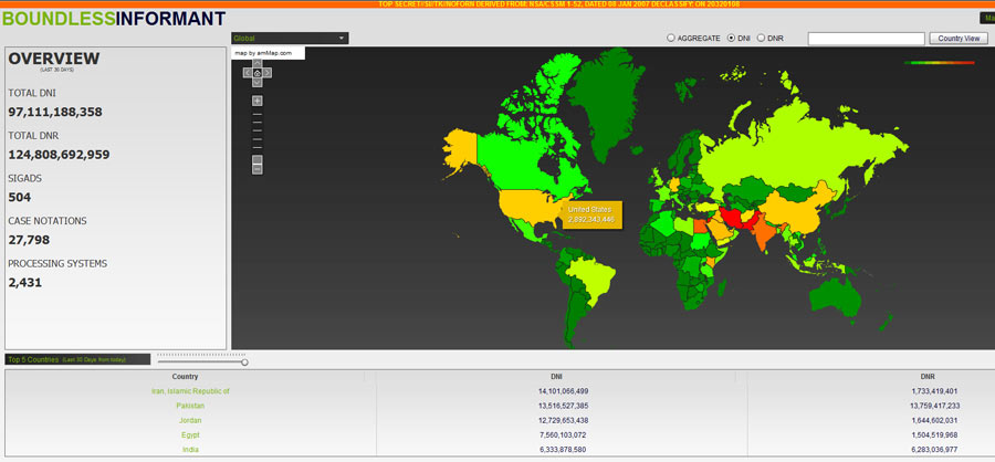 A BoundlessInformant global heat map of data collection. The color scheme ranges from green (areas least subjected to surveillance) through yellow and orange to red (areas most subjected to surveilance).