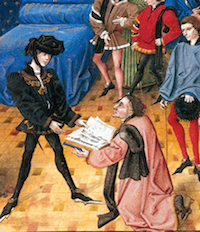 "Detail of painting showing presentation by Jean Miélot to ""Philip the Good,"" Duke of Burgundy, of his translation of the Traité sur l"