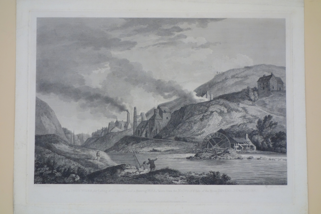 An Iron Work for the Casting of CANNON; and a Boreing MILL, Taken from the Madeley side of the River SEVERN, SHROPSHIRE. Engraved by Lowry after George Robertson (1788).