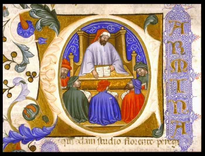 Boethius teaching his students. (View Larger)