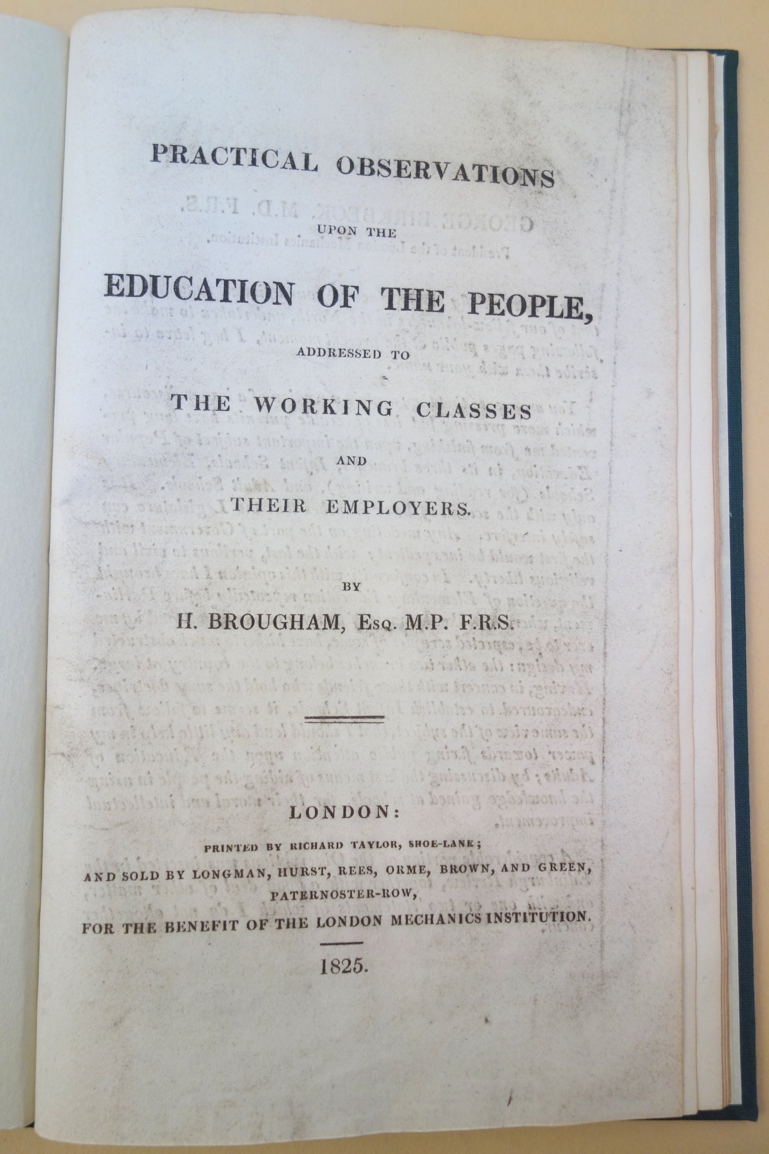 Brougham Practical Observations upon the Education of the People