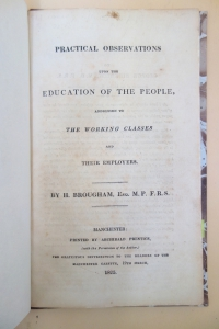 A Manchester reprint of Brougham's speech, the first edition of which was printed in London. Note that this pamphlet was distributed gratuitously by a newspaper publisher.