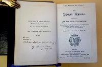 This copy of the Caxton Memorial Bible was saved by Henry Stevens and presented 12 years after the original production in 12 hours on June 30, 1877.