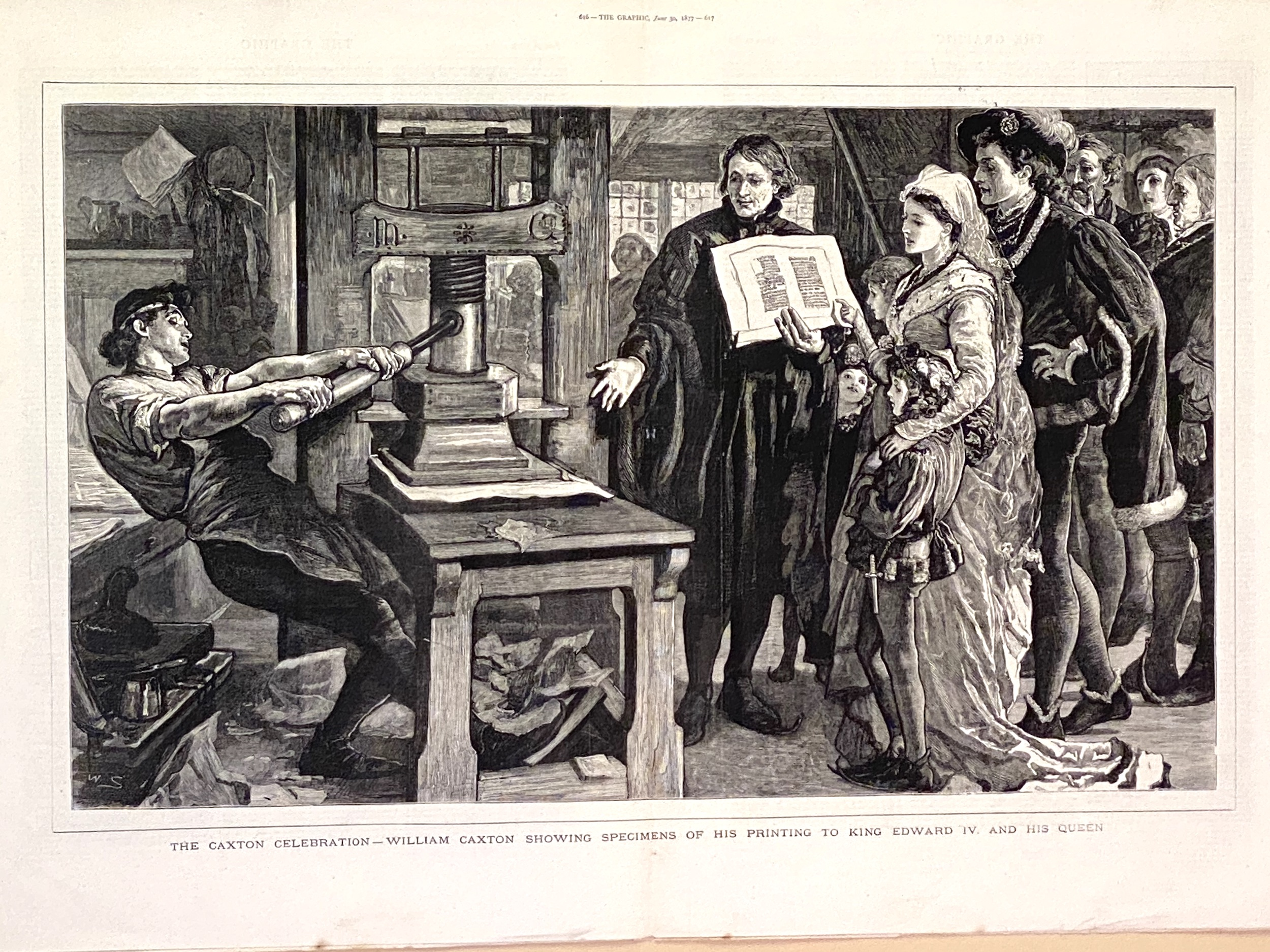 Caxton Showing Specimens of his Printing to King Edward VI and his Queen.