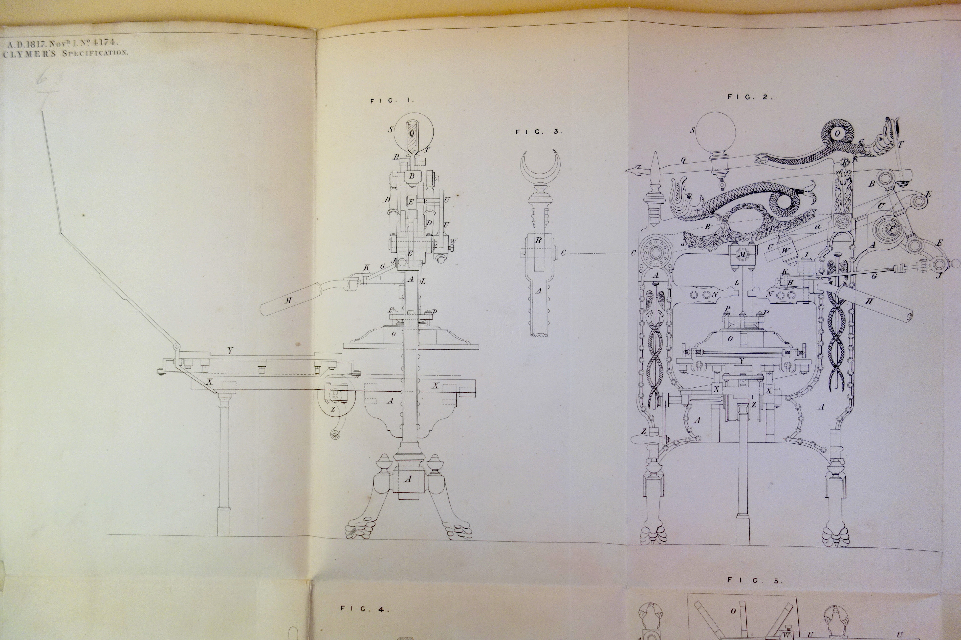 Clymer press patent drawing