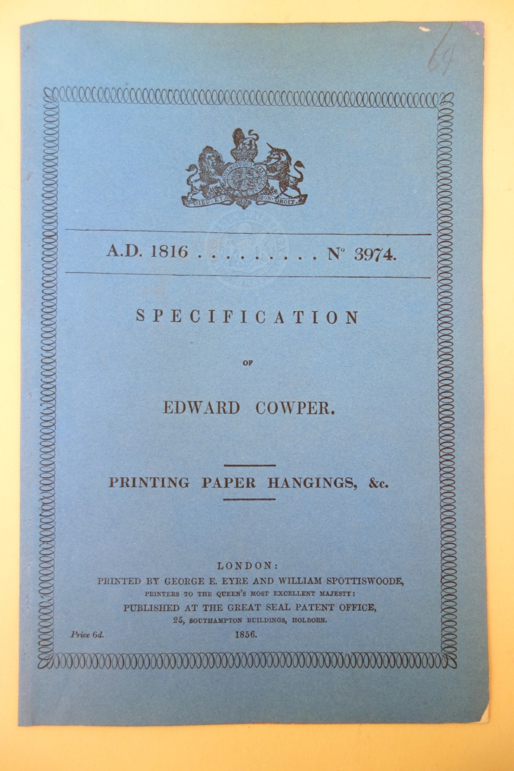 Cover of Cowper printing patent