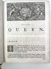 First page of Cruden's verbose dedication to the Queen.