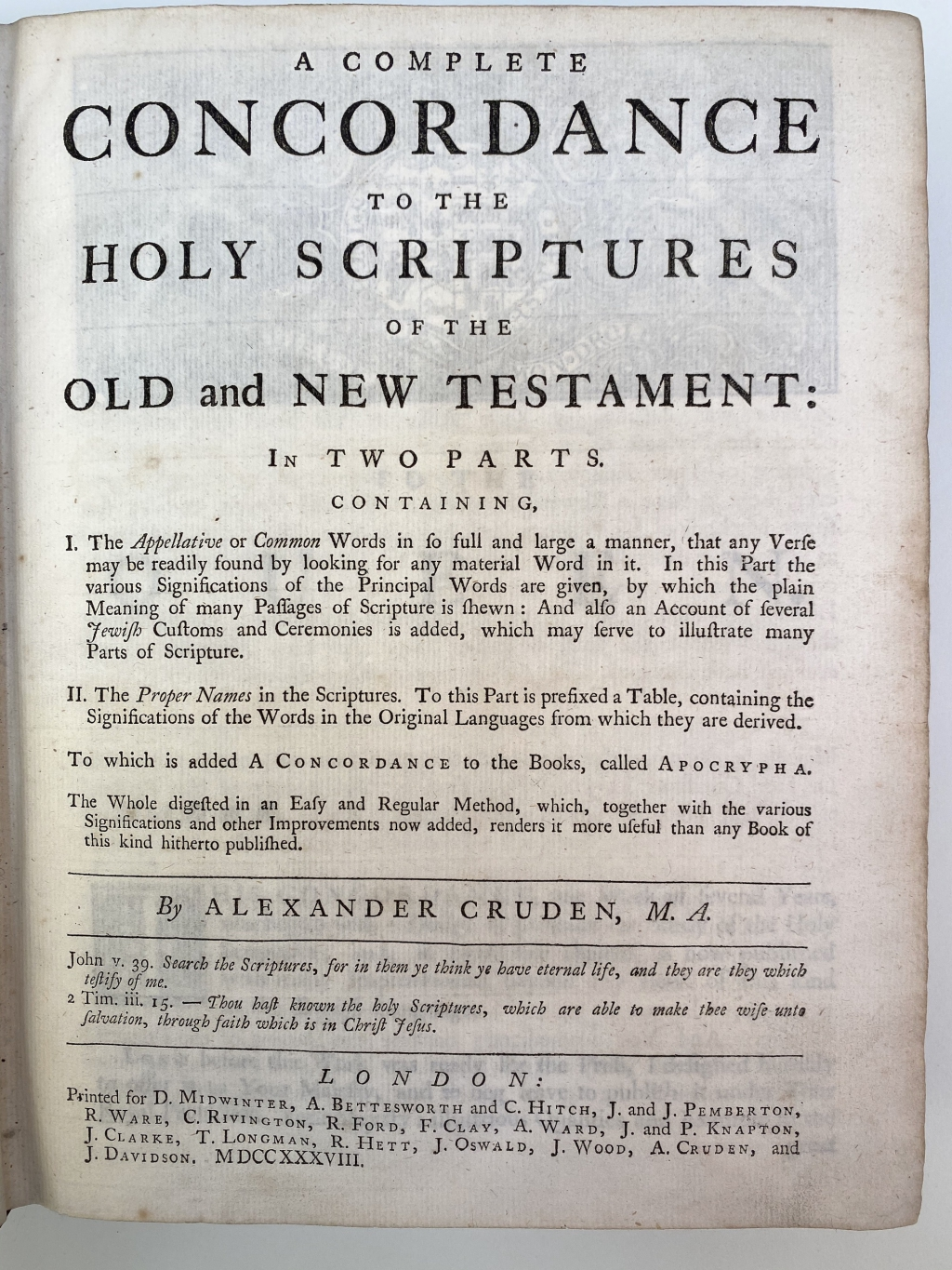 Title page of the first edition of Cruden's Concordance