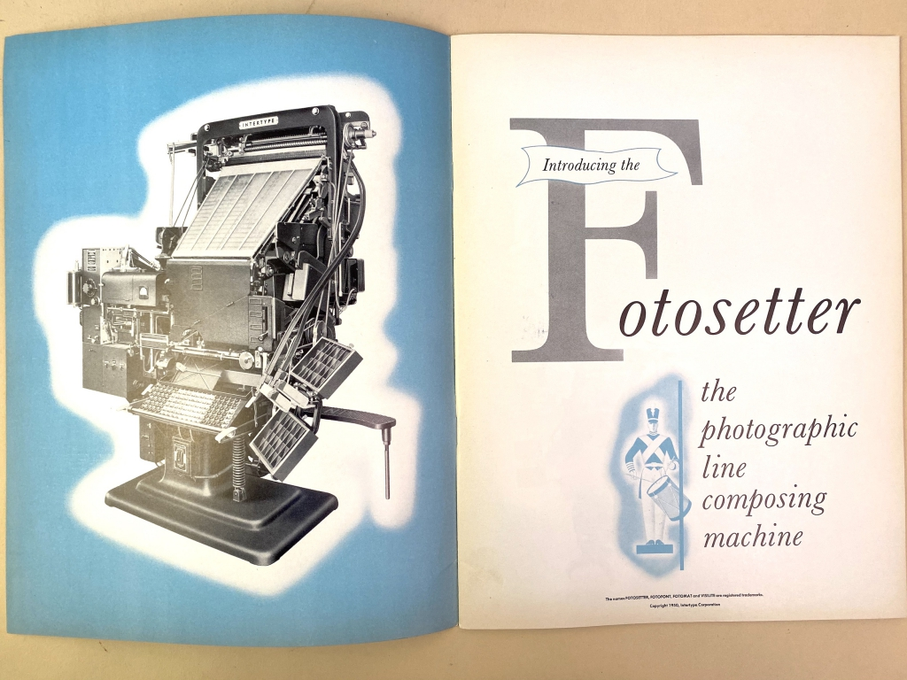 Intertype Fotosetter brochure copyright 1950. (1st page opening).