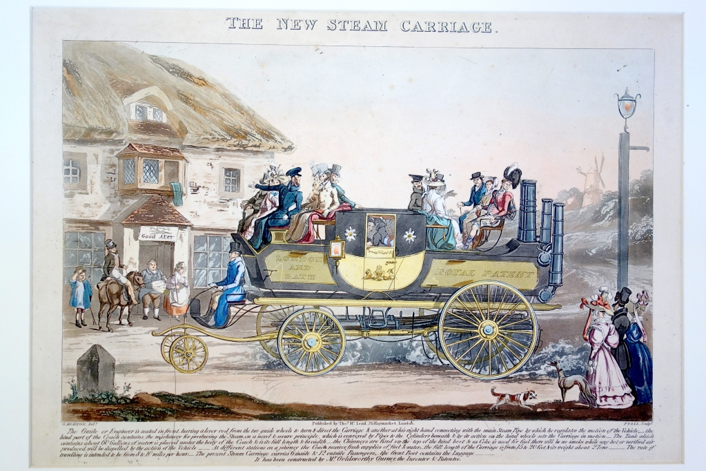 This print with its lengthy caption explaining the operation of the steam carriage was probably issued to promote the product. As the print indicated, the Carriage operated between London and