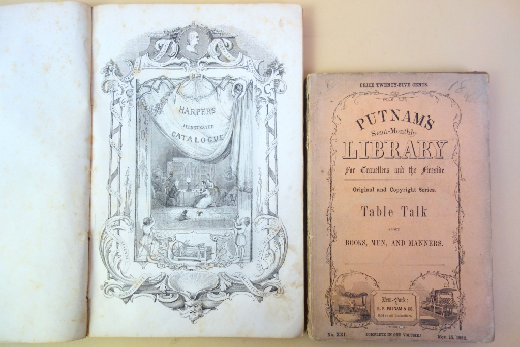 Covers of Harpers' and Putnams' trade catalogues with printing machines in their designs