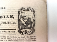 Knowledge is Power. Henry Hetherington's logo or printer's mark incorporating a Stanhope press.