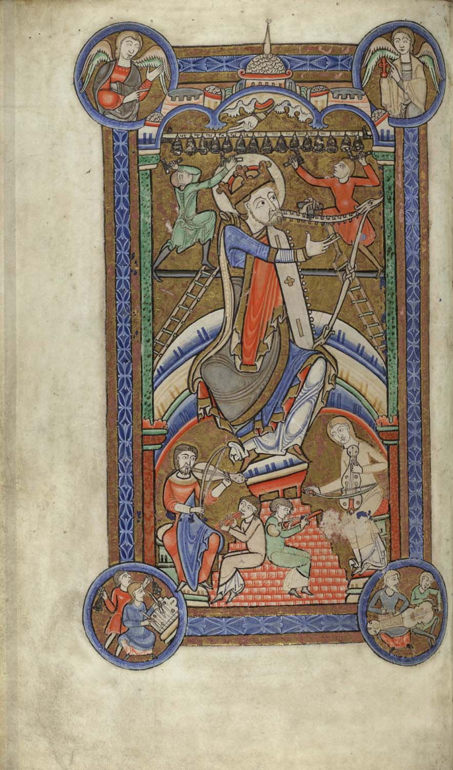Hunterian Psalter David tuning his harp