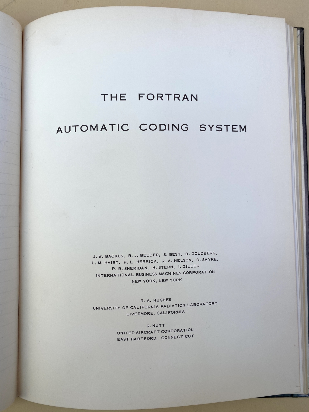 Title page for The Fortran Automatic Coding System preliminary version