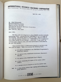 Letter from Backus distributing preliminary Fortran documents
