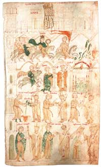The Coronation of Henry IV of Liber ad honorem Augusi sive de rebus Siculis, folio 105r of MS. 120 II, Berne Municipal Library. (View Larger)