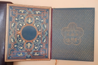 Elaborately inlaid leather pastedown endpapers in this copy of the Livre de Prieres