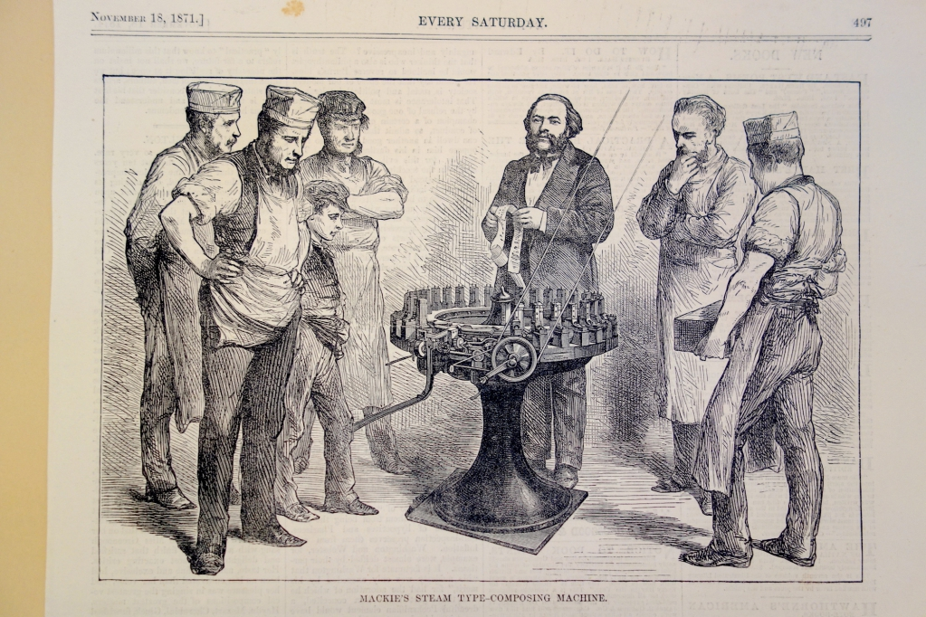 Mackie's typesetting machine was driven by punched paper tape rolls shown in the hands of the operator in this image from 1871.