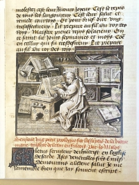 Detail of grisaille style painting by Jean Le Tavernier of Jean Miélot writing in his scriptorium, probably in the ducal library, from Miracles de Notre Dame, Bibliothèque nationale de France
