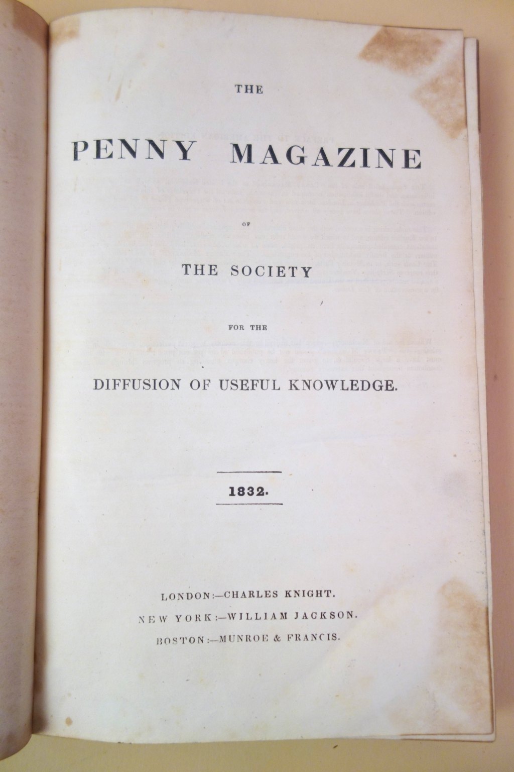 Title page of Vol. 1 of the American issue of The Penny Magazine