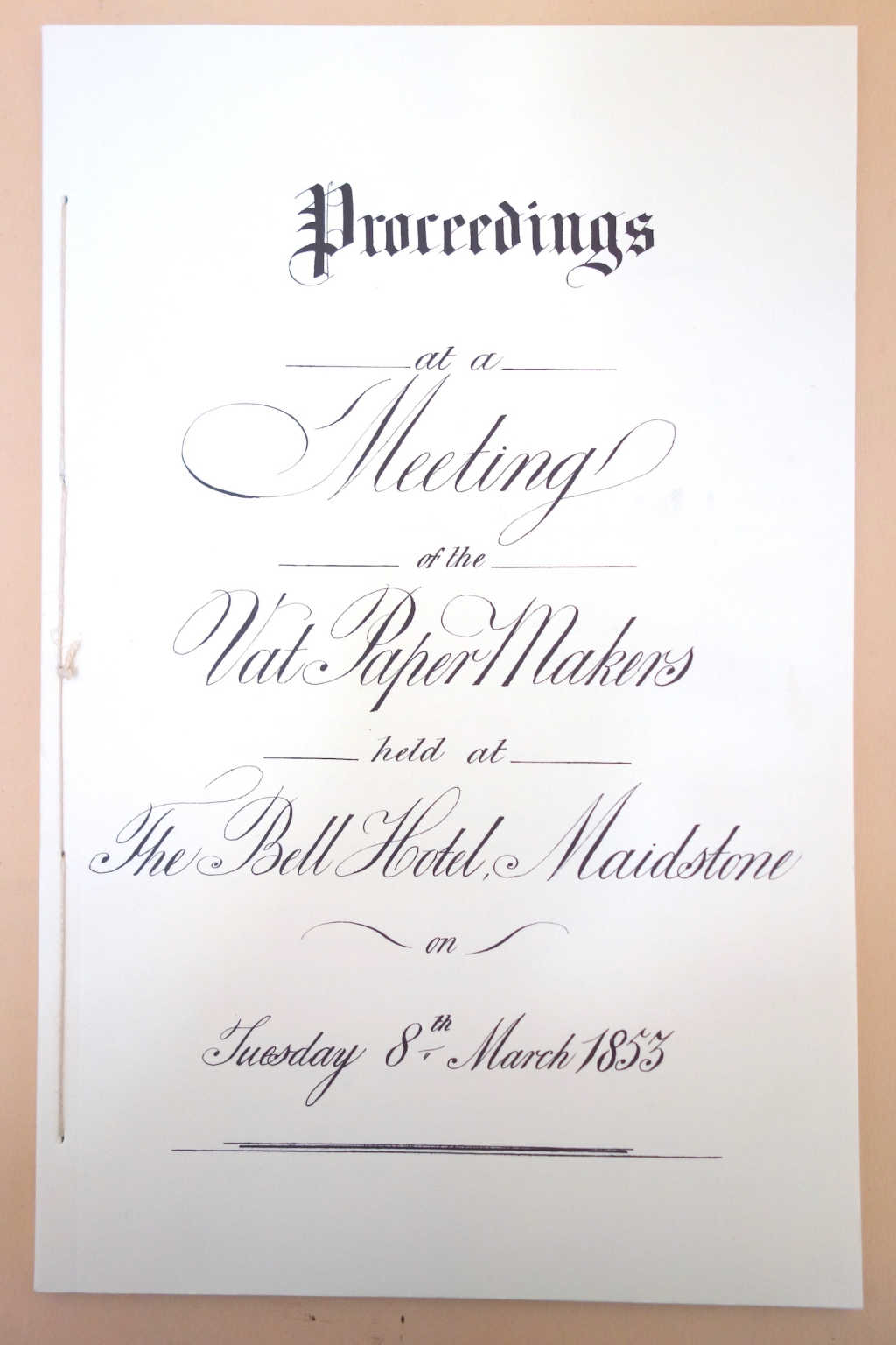 Proceedings at a Meeting of the Vat PaperMakers....