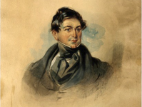 Watercolor portrait of Edward Binns by A. Taylor, 1838. From the Wellcome Library.