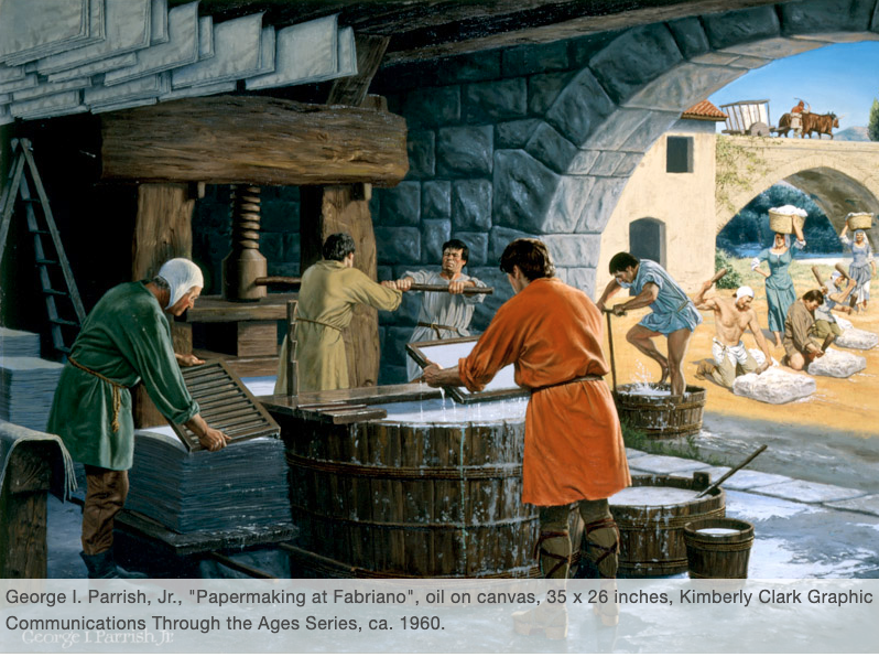 """Papermaking at Fabriano."" Painting by George I. Parrish, Jr. from the series Graphic Communications Throughout the Ages preserved in the Cary Graphic Arts Collection at Rochester Institute of Technology."