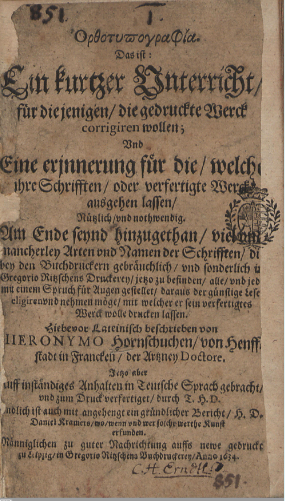 Title page of the second edition of Hornschuch