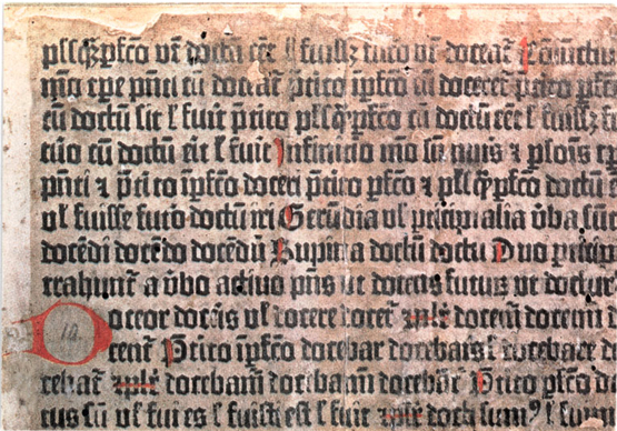 Fragment in the British Library (B.M. IB, 66) of the Mainz printing of Donatus, about 1455, in an earlier state of the 36-line Bible type.