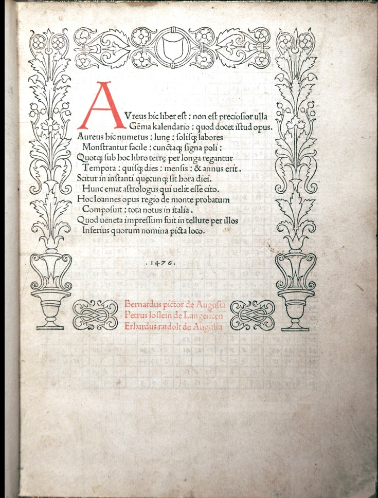 Title page of the University of Oklahoma copy of the 1476 Latin edition.