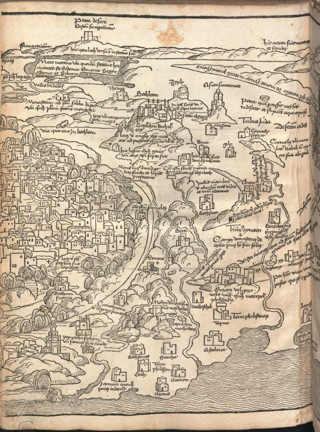 Breydenbach (1486), map of Holy Land, left section, from the copy in the Bayerische Staatsbibliothek.