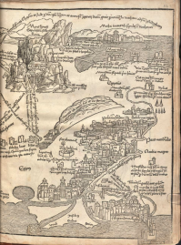 Breydenbach (1486), map of the Holy Land, right section from the copy in the Bayerische Staatsbibliothek.